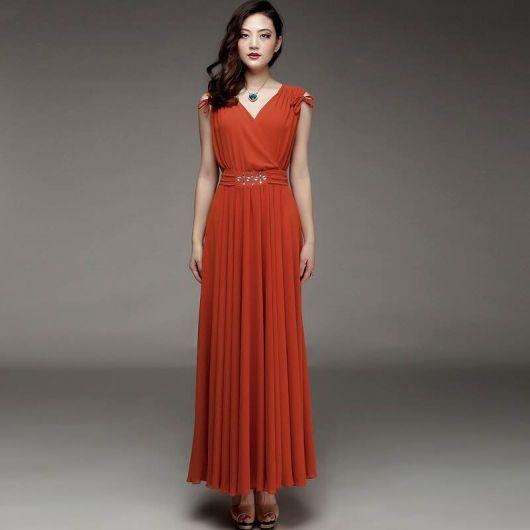 vestido vermelho alaranjado
