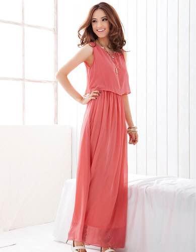 Vestido vermelho rosado