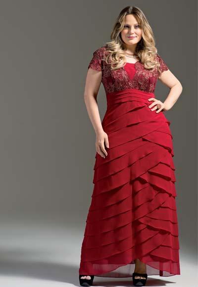 vestido vermelho longo social plus size