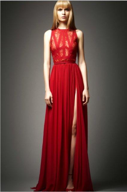 vestido vermelho longo social com fenda