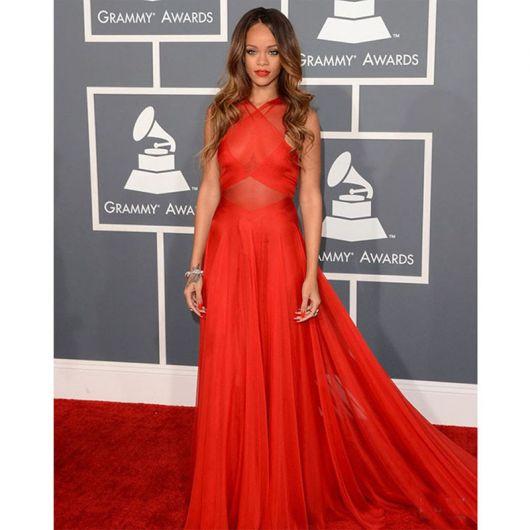 vestido vermelho longo social