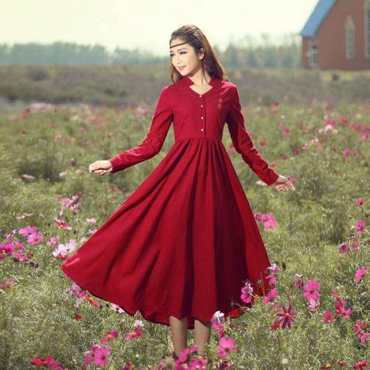 vestido vermelho longo com mangas