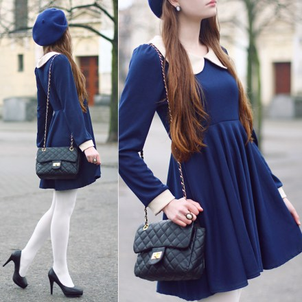 vestido vintage peterpan manga longa