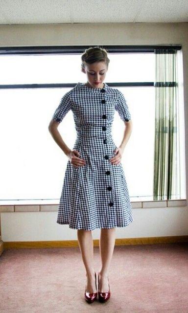 vestido vintage xadrez azul