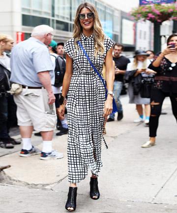 vestido xadrez no street style