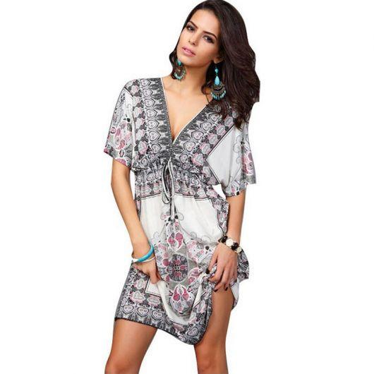 vestido indiano curto decote v