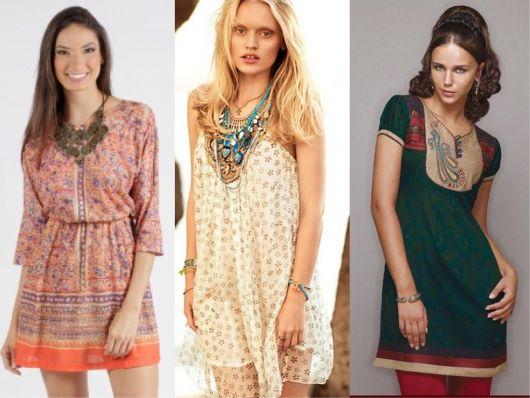 montagem com 3 modelos curtos de vestidos indianos