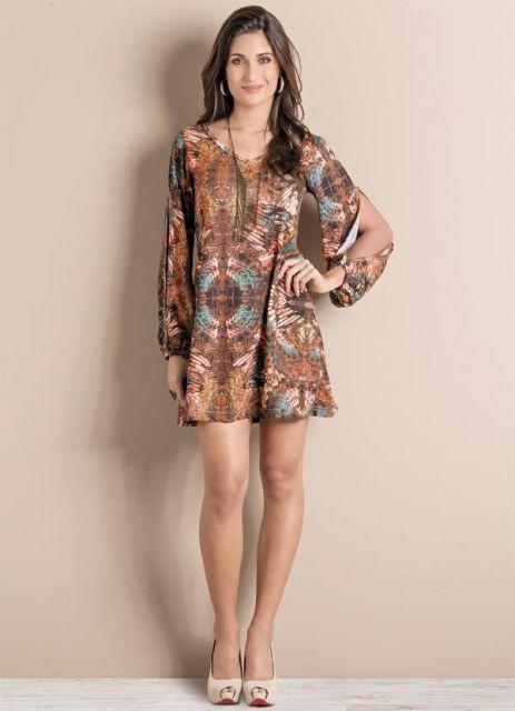 vestido indiano curto colorido