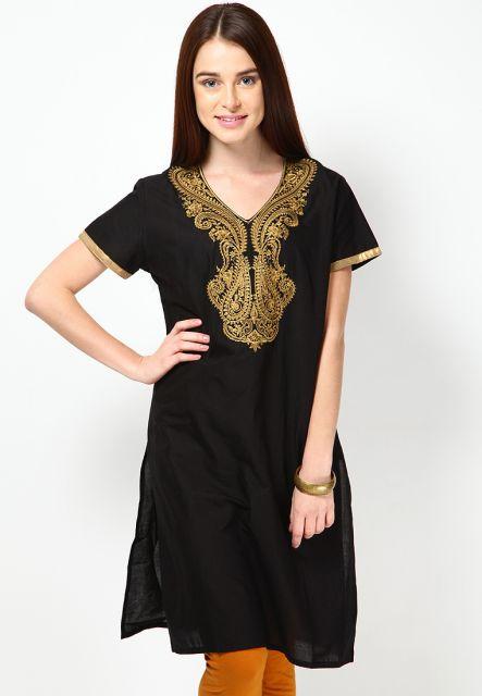 vestido indiano curto preto