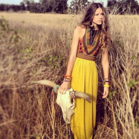 vestido indiano longo amarelo