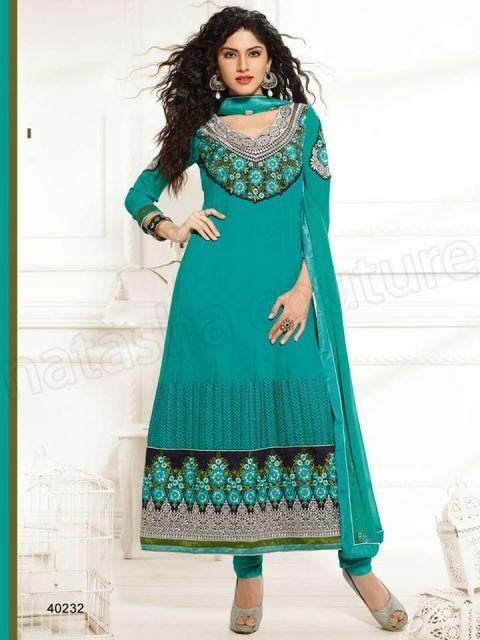 vestido indiano azul turquesa