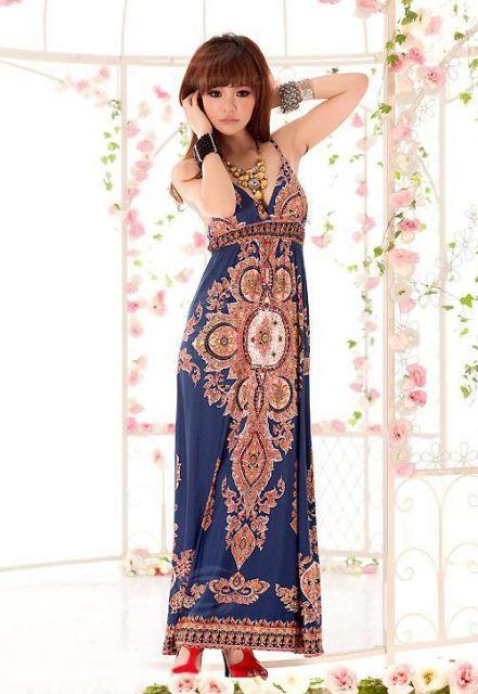 vestido indiano longo chinesa