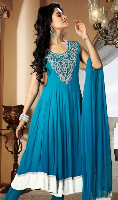 Vestido indiano azul festa