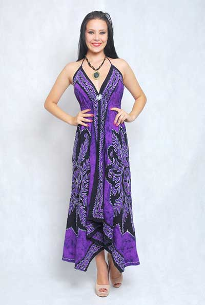 vestido indiano roxo e preto