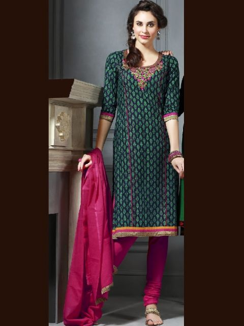 punjabi suit verde e rosa