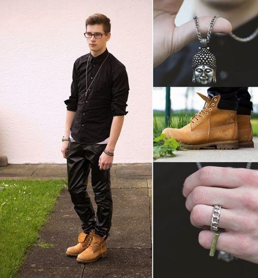 yellow boot masculina com acessórios
