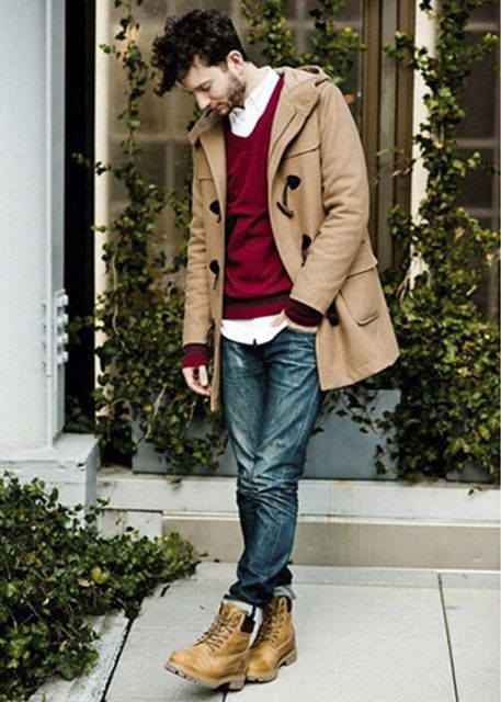 yellow boots com jaqueta