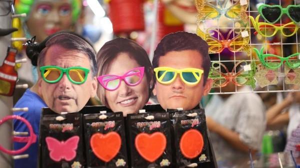 Máscara do Bolsonaro e Sergio Moro para fantasia