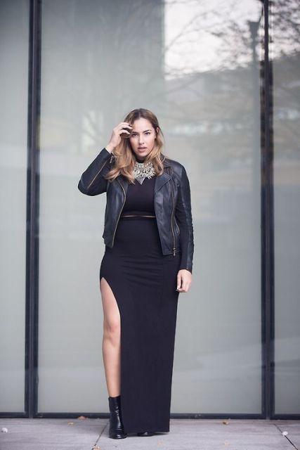 Vestido com fenda plus size preto