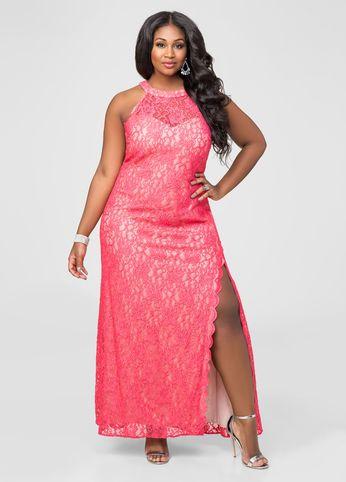 Vestido com fenda plus size rosa