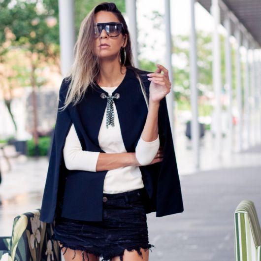 blazer capa  com mini saia