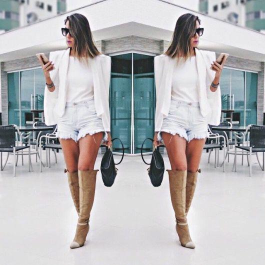 blazer capa como usar com short jeans