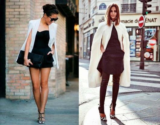 vestido curto com blazer capa