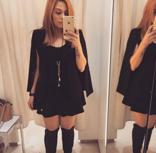 blazer capa em look all black