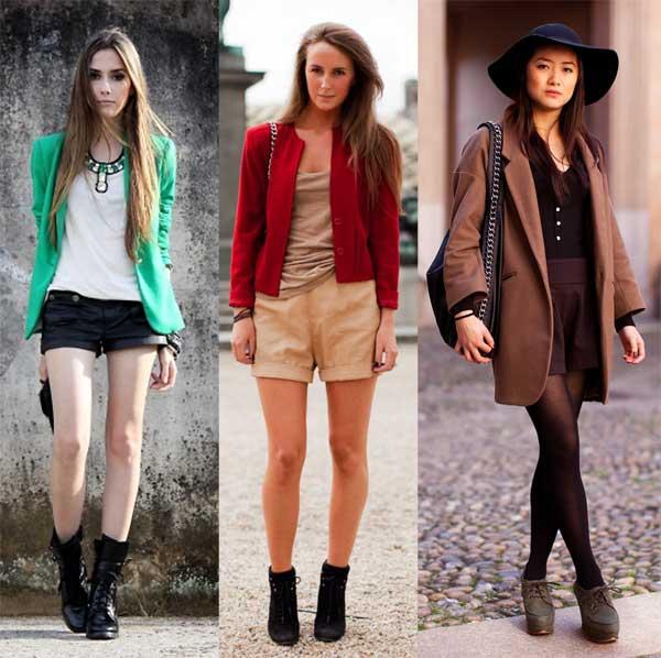 ideias para combinar blazer capa e short