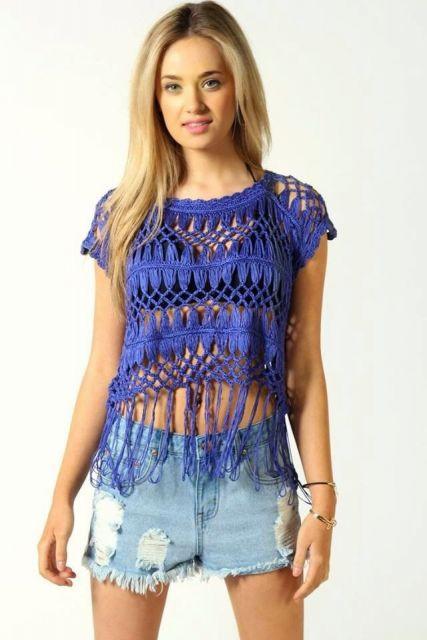 blusa de crochê com franja curta transparente
