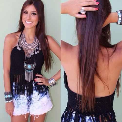 blusa de crochê com franja look com maxi colar