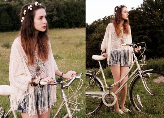 blusa de crochê com franja estilo hippie