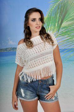 blusa de crochê com franja decote canoa