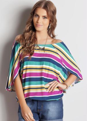 blusa listrada com decote canoa