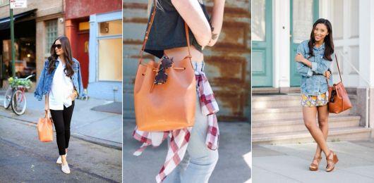 exemplo de looks com bolsa saco para o dia a dia