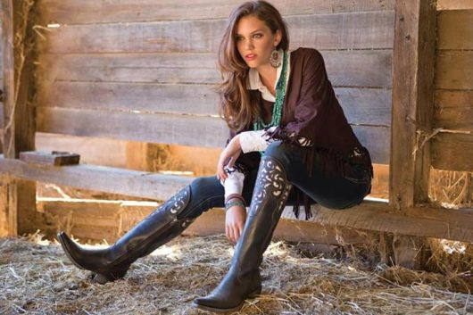 bota country feminina com jeans basico