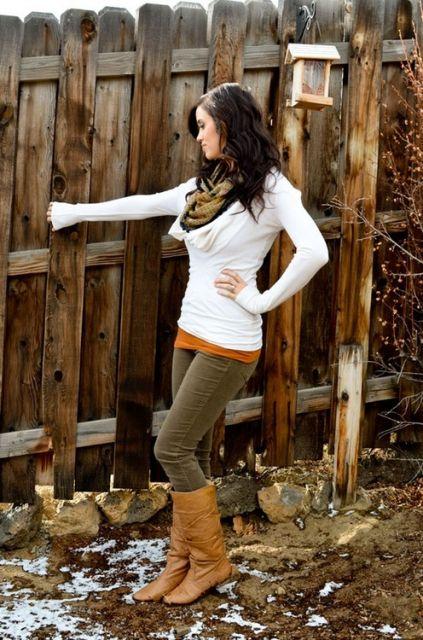 bota country feminina look marrom