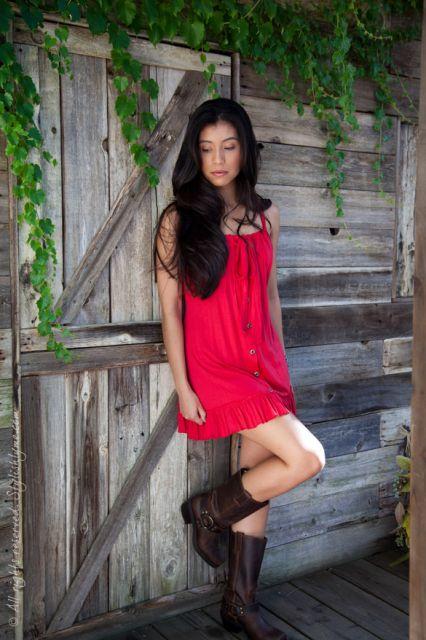 usar bota country feminina com vestido