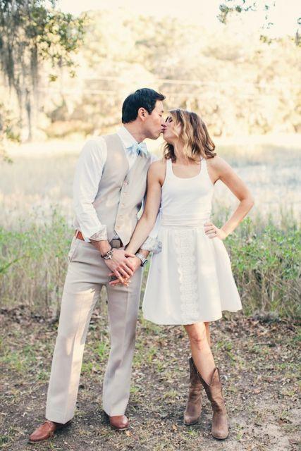 bota country feminina com vestido de casamento