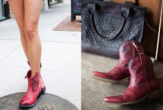 bota country feminina cano curto vermelha