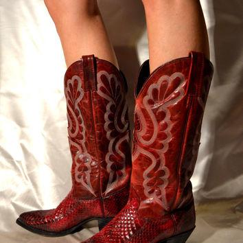 bota country feminina cano longo vermelha