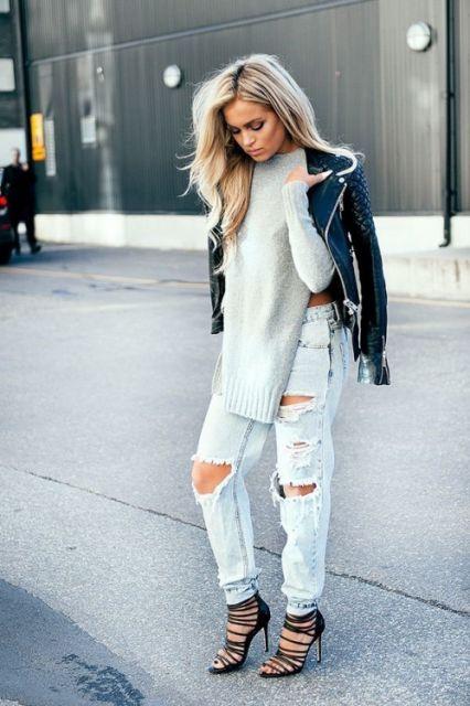 exemplo de looks elegantes com calça destroyed