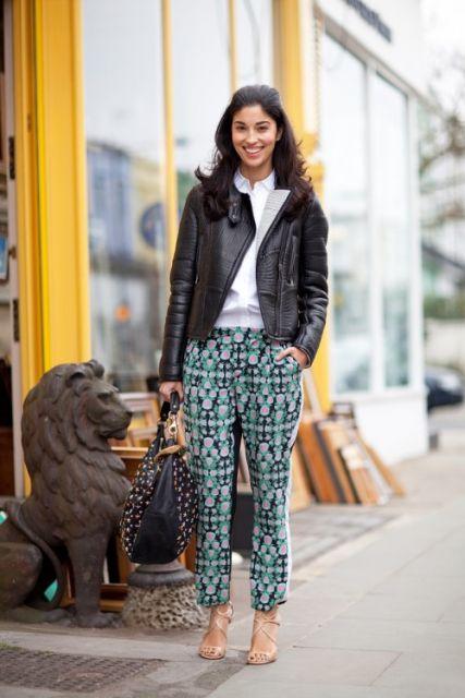 calça pijama com jaqueta de couro