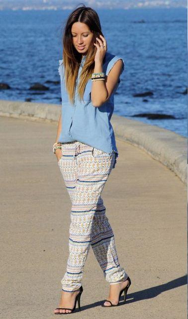 calça pijama com regata jeans