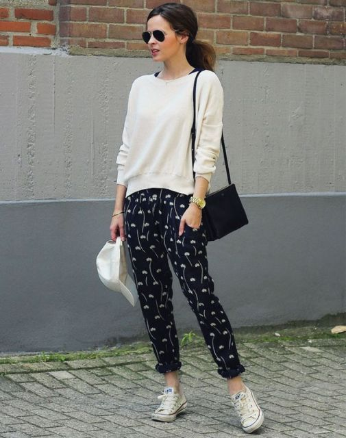 calça pijama com tênis