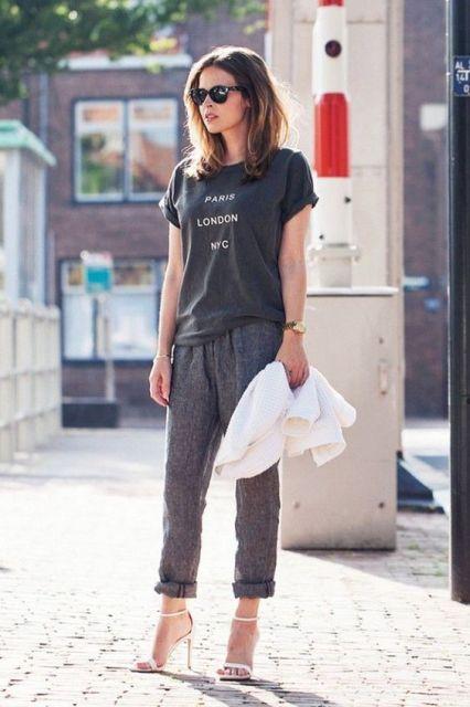 calça pijama com t-shirt