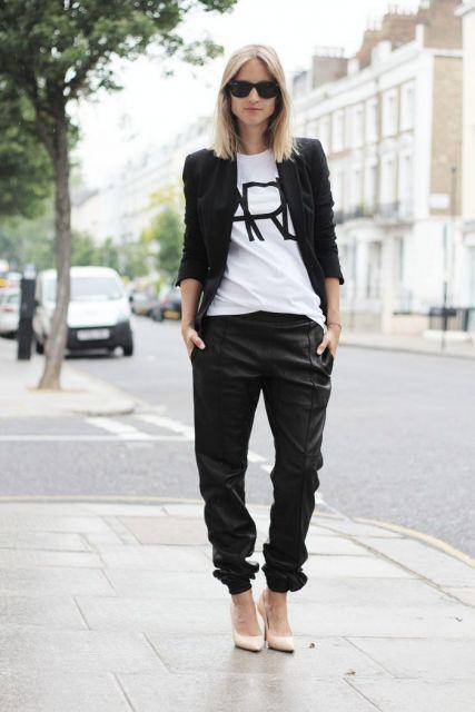 calça pijama preta com blazer