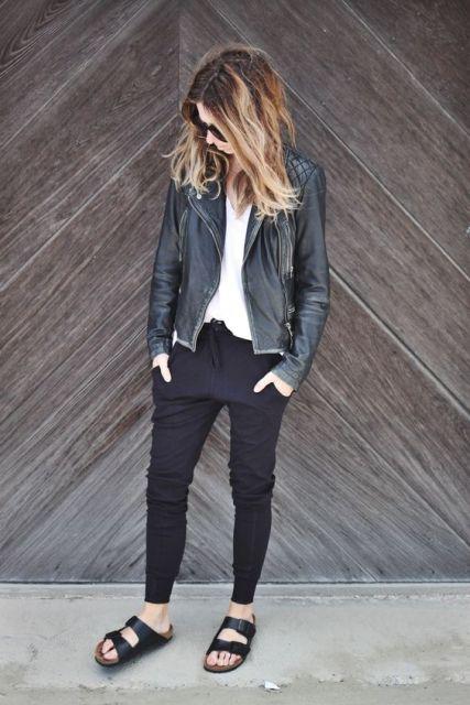 calça pijama preta com jaqueta