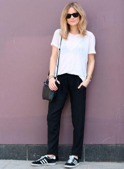 calça pijama preta com tênis