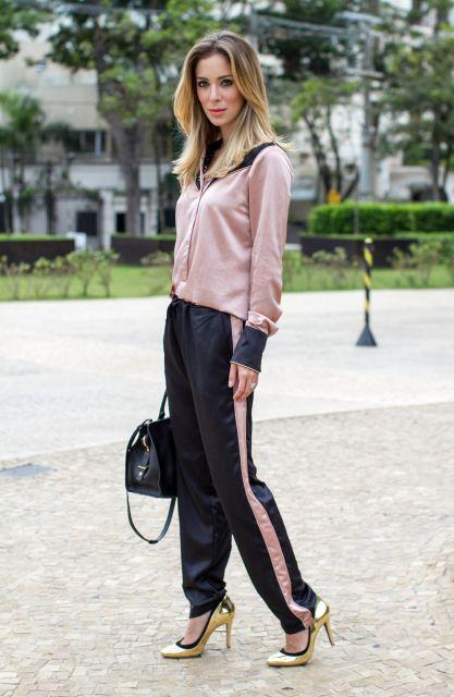 calça pijama preta estilo esportiva